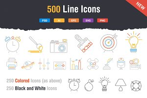 500 Outstanding Line Icons