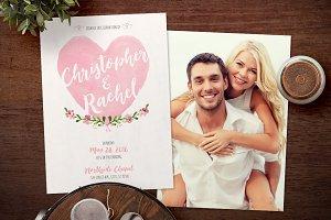 Watercolor Hearts Wedding Invitation