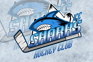 Sharks hockey club professional logo