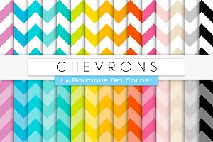 Big Rainbow Chevron Digital Paper
