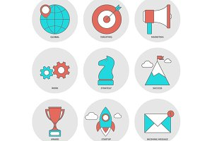 Start up outline icons flat