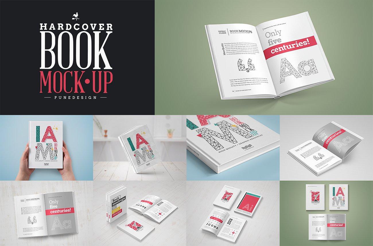 Book Mock Up Hardcover Edition Print Mockups