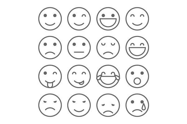 Emoji Faces Simple Icons Icons Creative Market
