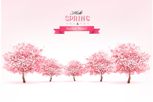 Spring Nature Background With Sakur…
