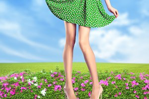 Woman legs. Fashion dress and heels