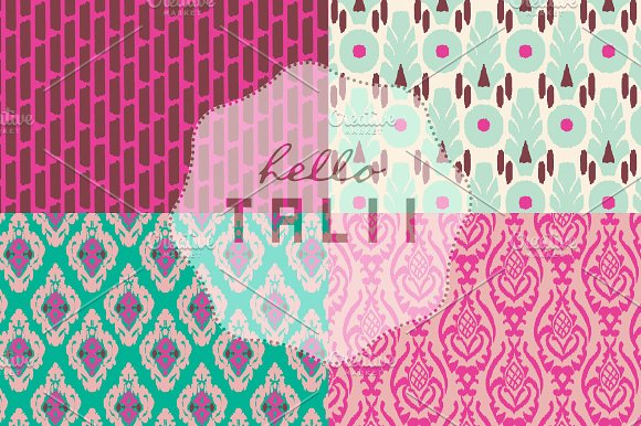 Pink Ikat Digital Paper in Patterns - product preview 1