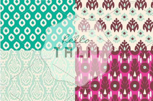Pink Ikat Digital Paper in Patterns - product preview 2