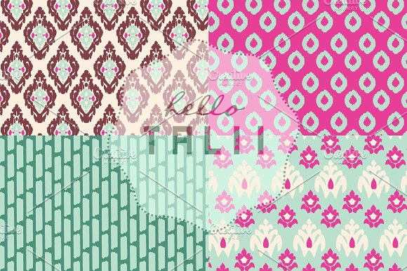 Pink Ikat Digital Paper in Patterns - product preview 3