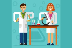 Scientists in Laboratory Vector
