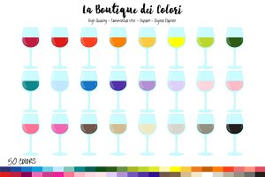 50 Rainbow Wine Glass Clipart