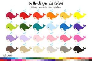 50 Rainbow Whale Clip art