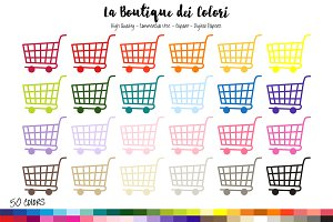 50 Rainbow Shopping Cart Clipart