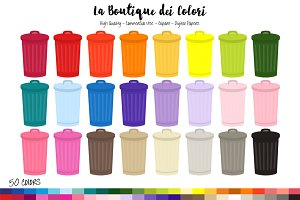 50 Rainbow Trash Can Clipart