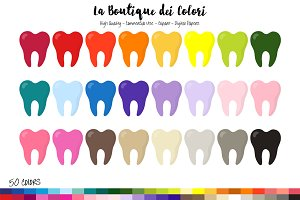 50 Rainbow Tooth Planner Clip art
