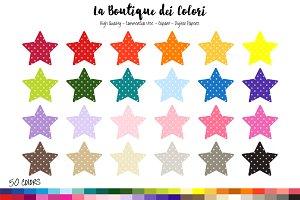 50 Rainbow Polkadot Star Clip art