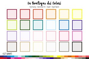 50 Rainbow Square Frame Clipart