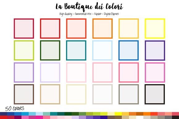 50 rainbow square frame clipart illustrations