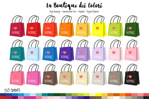 50 Rainbow Shopping bag Clipart