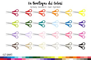 50 Rainbow Scissors Clipart