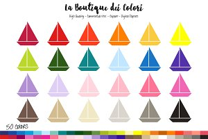 50 Nautical Sailboat Clipart