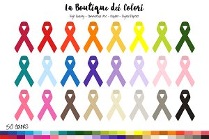 50 Rainbow Awareness Ribbon Clipart