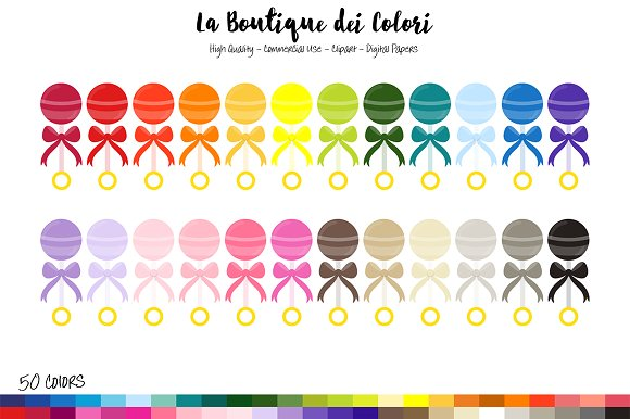 50 Rainbow Toy Rattle Clipart