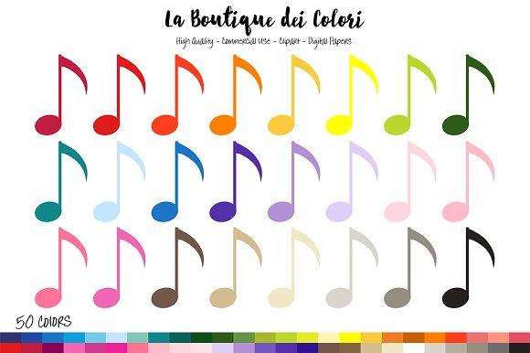 50 Rainbow Music Notes Clipart