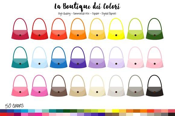 50 Rainbow Lady's Handbag Clipart