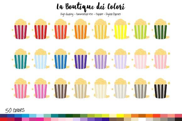 50 Rainbow Popcorn Clipart