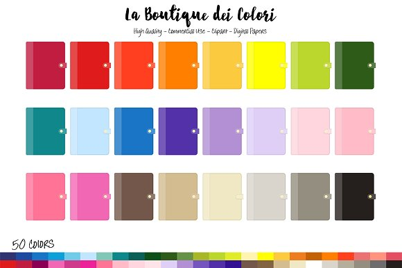 50 Rainbow Personal Planner Clipart
