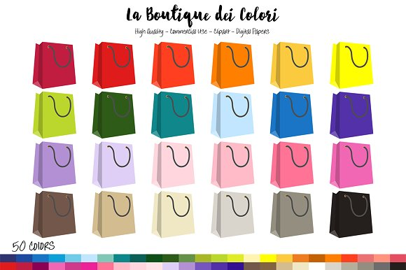 50 Rainbow Shopping bag Clipart in Illustrations