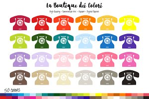 50 Rainbow Vintage Phone Clipart