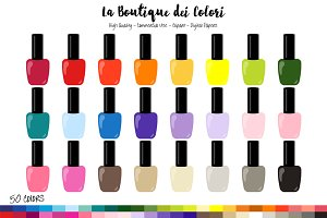 50 Rainbow Nailpolish Clipart