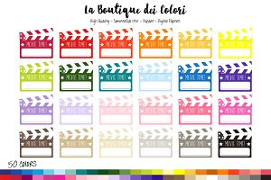 50 Rainbow Movie Clapboard Clipart