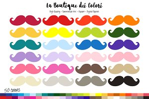 50 Rainbow mustache Clipart