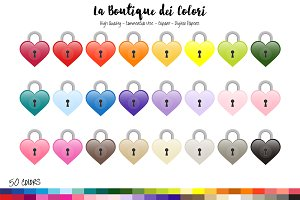 50 Heart Lock Clipart