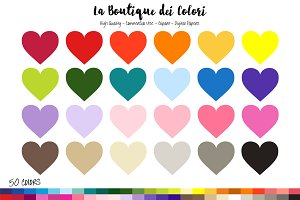 50 Rainbow Hearts Clipart