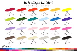 50 Rainbow Ironing Board Clipart