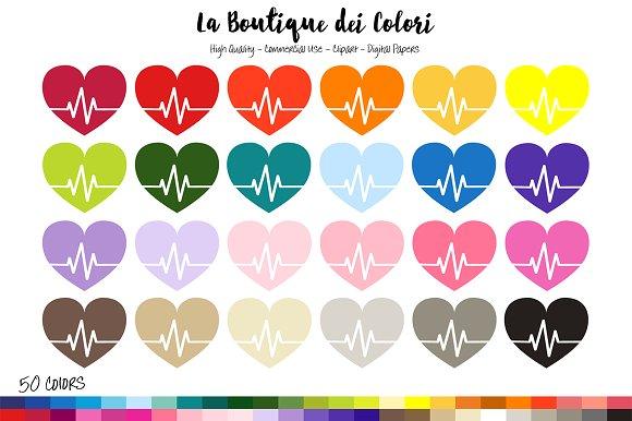 50 Rainbow Heart Beat Clipart