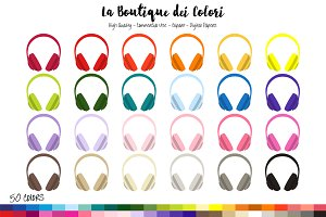 50 Rainbow Headphones Clipart
