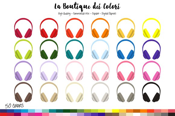 50 Rainbow Headphones Clipart