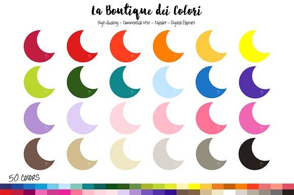 50 Rainbow Moon shape Clipart