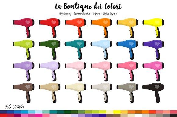 50 Rainbow Hair Dryer Clip Art