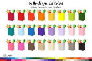 50 Rainbow Grocery Bag Clip Art