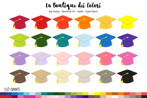 50 Rainbow Graduation Hat Clip Art