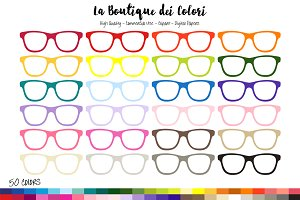 50 Rainbow Hipster Glasses Clip Art