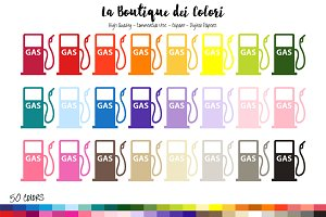 50 Rainbow Gas Pump Clip Art