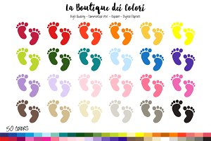 50 Rainbow Baby Footprints Clip art