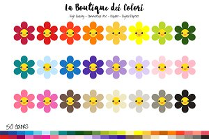 50 Rainbow Kawaii Flowers Clip Art