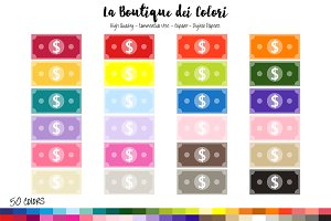 50 Rainbow Paper Dollar Clipart